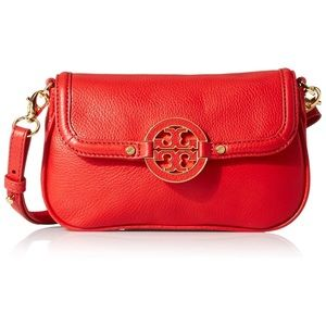 Tory Burch Amanda crossbody in vibrant red-coral